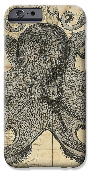 Octopus Sea Chart IPhone Case by Erin Cadigan