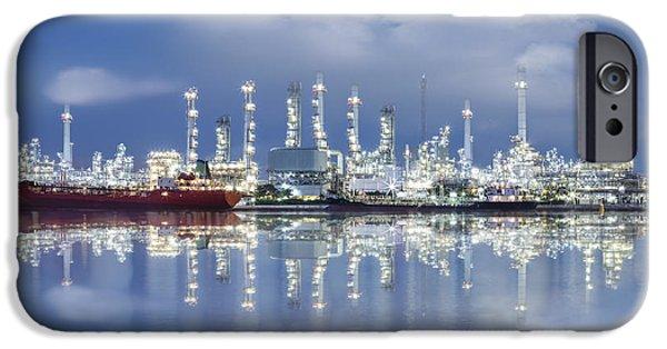 Oil Refinery Industry Plant IPhone Case by Setsiri Silapasuwanchai