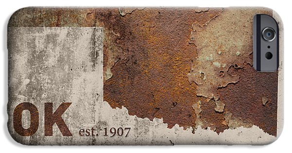 Oklahoma State Map Industrial Rusted Metal On Cement Wall With Founding Date Series 003 IPhone Case by Design Turnpike