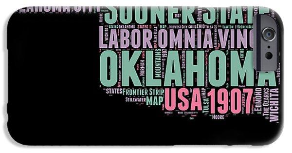 Oklahoma Word Cloud 1 IPhone Case by Naxart Studio