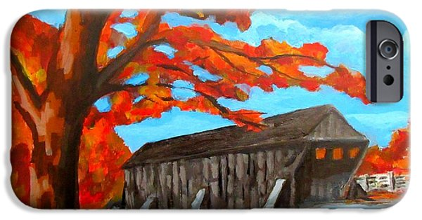 Old Covered Bridge In The Fall IPhone Case by John Malone