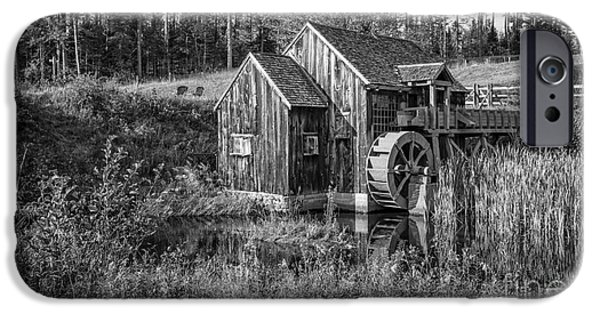 Old Grist Mill In Vermont Black And White IPhone Case by Edward Fielding