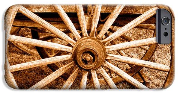 Old Prairie Schooner Wheel - Sepia IPhone Case by Olivier Le Queinec