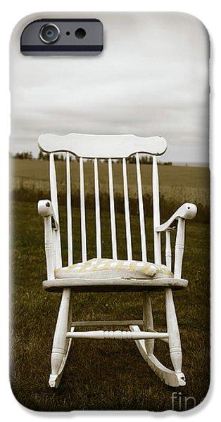 Old Rocking Chair In A Field Pei IPhone Case by Edward Fielding