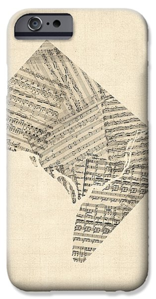 Old Sheet Music Map Of Washington Dc IPhone Case by Michael Tompsett