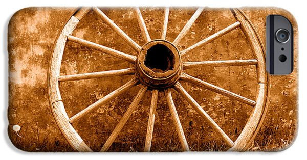 Old Wagon Wheel - Sepia IPhone Case by Olivier Le Queinec
