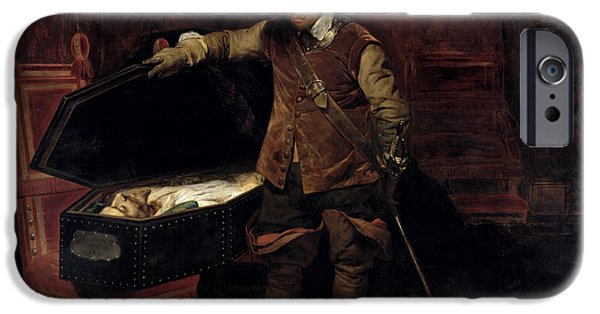 Oliver Cromwell Opening The Coffin Of Charles I  IPhone 6s Case by Hippolyte Delaroche
