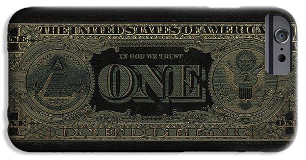 One U. S. Dollar Bill Reverse - Gold On Black IPhone Case by Serge Averbukh