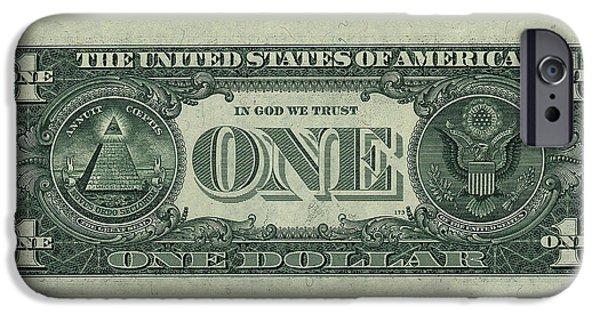 One U. S. Dollar Bill Reverse IPhone Case by Serge Averbukh