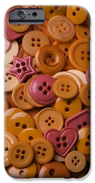 Orange Buttons IPhone Case by Garry Gay