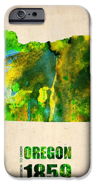 Oregon Watercolor Map IPhone Case by Naxart Studio