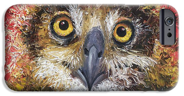 Owl Painting On Red Background IPhone 6s Case by Jan Matson