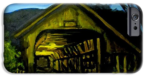 Painting Of Woodstock Bridge Vermont At Night IPhone Case by John Malone