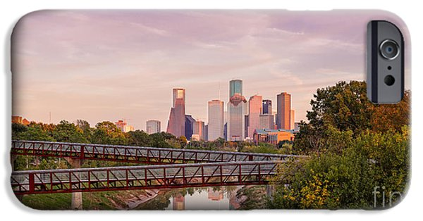 Panorama Of Downtown Houston Skyline From Studemont Drive - Buffalo Bayou Park Houston Texas IPhone Case by Silvio Ligutti