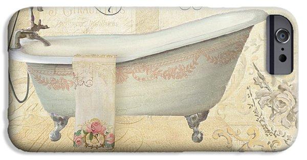 Parchment Paris - Le Bain Vintage Bathroom IPhone Case by Audrey Jeanne Roberts