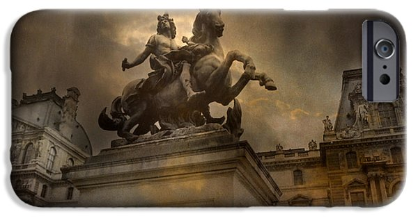 Paris - Louvre Palace - Kings Of Paris - King Louis Xiv Monument Sculpture Statue IPhone 6s Case by Kathy Fornal