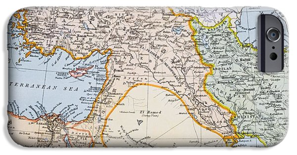Partial Map Of Middle East In 1890s IPhone Case by Vintage Design Pics