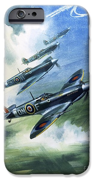 Patrolling Flight Of 416 Squadron, Royal Canadian Air Force, Spitfire Mark Nines IPhone 6s Case by Wilf Hardy