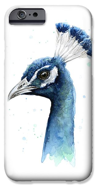 Peacock Watercolor IPhone 6s Case by Olga Shvartsur