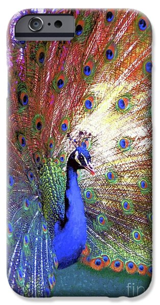 Peacock Wonder, Colorful Art IPhone Case by Jane Small