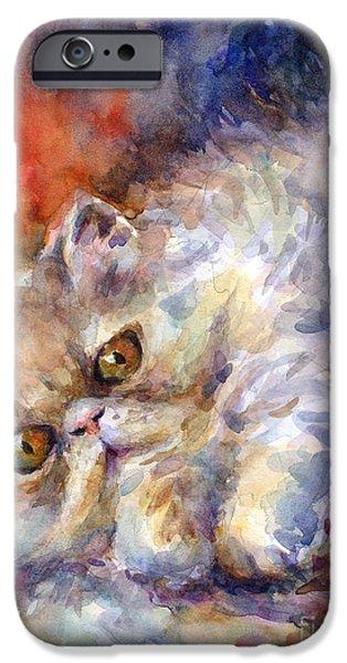 Persian Cat Painting IPhone Case by Svetlana Novikova