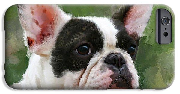 Pet Bulldog Portrait IPhone Case by Michael Greenaway