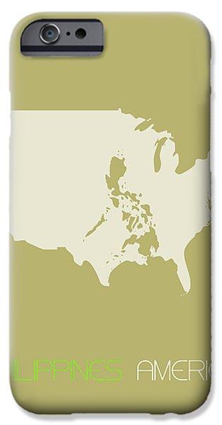 Philippines America Poster IPhone Case by Naxart Studio