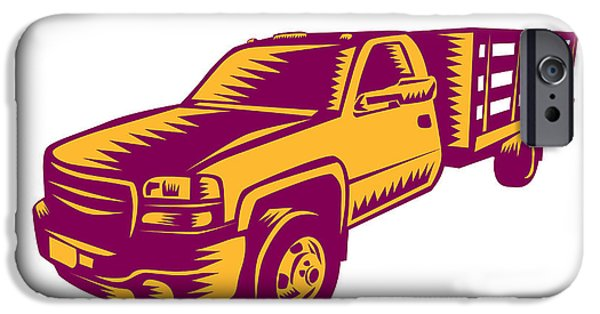 Pick-up Truck Woodcut IPhone Case by Aloysius Patrimonio
