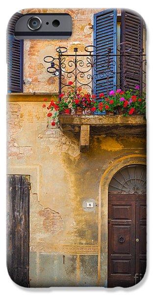 Pienza Balcony IPhone Case by Inge Johnsson