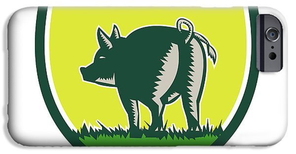 Pig Tail Rear Crest Woodcut IPhone Case by Aloysius Patrimonio