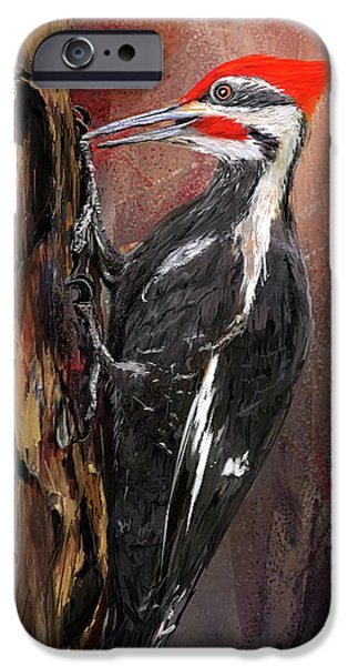 Pileated Woodpecker Art IPhone 6s Case by Lourry Legarde