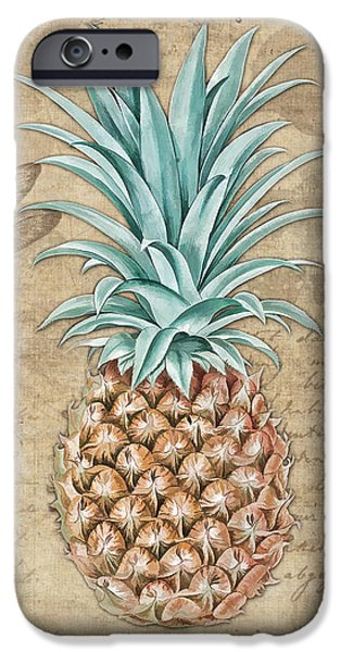 Pineapple, Ananas Comosus Vintage Botanicals Collection IPhone Case by Tina Lavoie