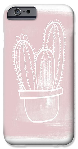 Pink And White Cactus- Art By Linda Woods IPhone Case by Linda Woods