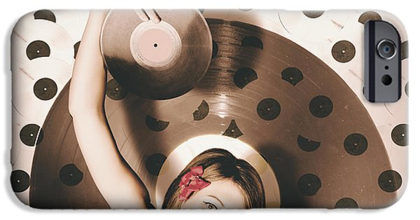 Pinup Dj Rocking Around The Clock  IPhone Case by Jorgo Photography - Wall Art Gallery