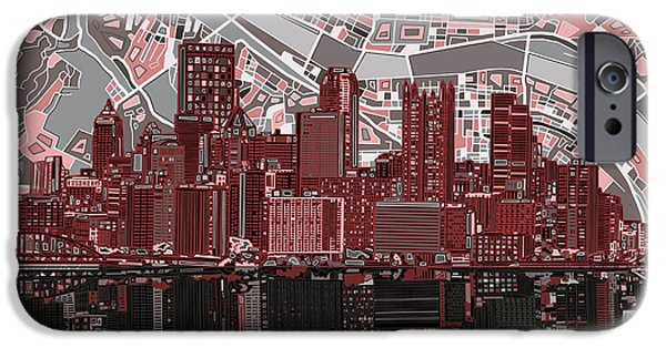 Pittsburgh Skyline Abstract 5 IPhone Case by Bekim Art