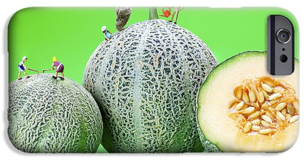 Planting Cantaloupe Melons Little People On Food IPhone Case by Paul Ge