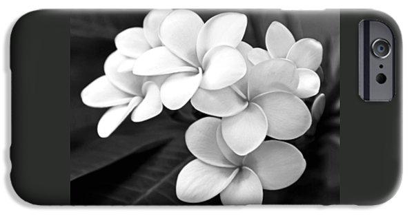 Plumeria - Black And White IPhone Case by Kerri Ligatich