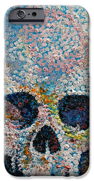 Pointillism Skull IPhone Case by Michael Creese