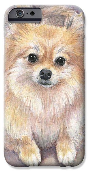 Pomeranian Watercolor IPhone Case by Olga Shvartsur