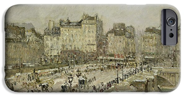 Pont Neuf Snow Effect IPhone Case by Camille Pissarro