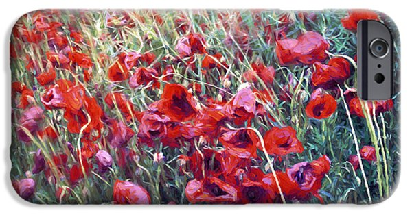 Poppies In Motion IPhone Case by Jutta Maria Pusl