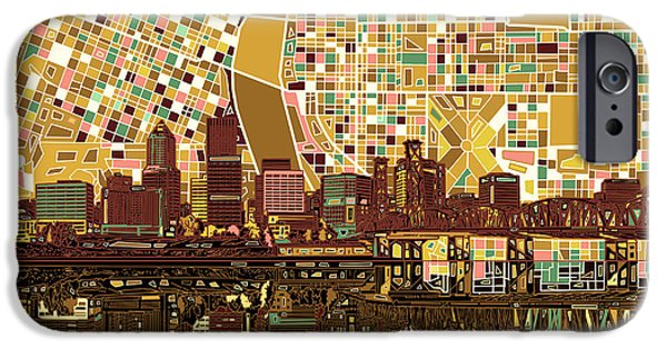 Portland Skyline Abstract 9 IPhone Case by Bekim Art