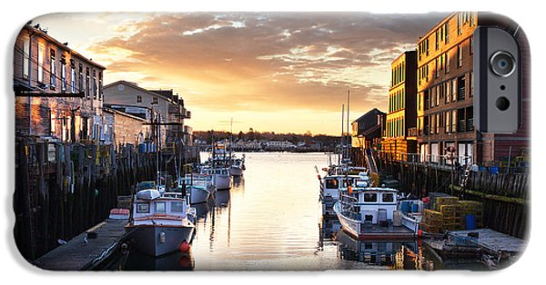 Portland Sunrise At The Custom House Wharf IPhone Case by Eric Gendron