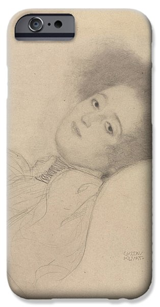 Portrait Of A Young Woman Reclining IPhone Case by Gustav Klimt