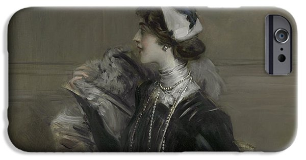 Portrait Of Mademoiselle Lina Cavalieri IPhone Case by Giovanni Boldini