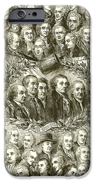Portraits Of The Signers Of The Declaration Of Independence IPhone Case by American School