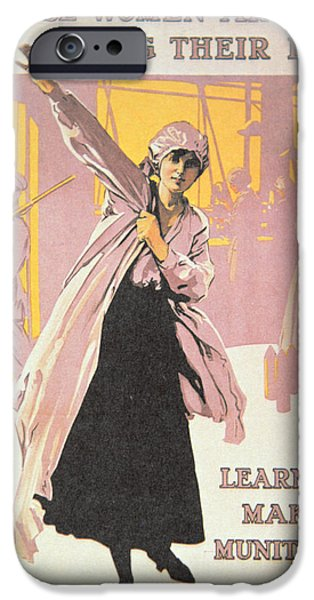 Poster Depicting Women Making Munitions  IPhone Case by English School