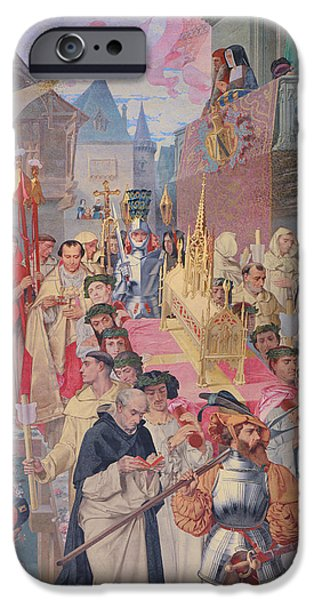 Procession Of The Reliquary Chest Of St Genevieve IPhone Case by Theodore Pierre Nicolas Maillot