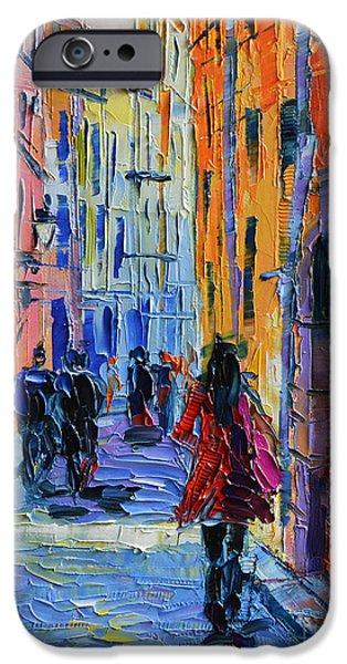Promenade On Saint Georges Street Lyon IPhone Case by Mona Edulesco