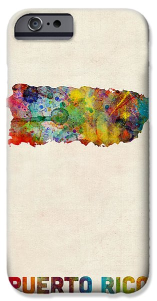 Puerto Rico Watercolor Map IPhone Case by Michael Tompsett